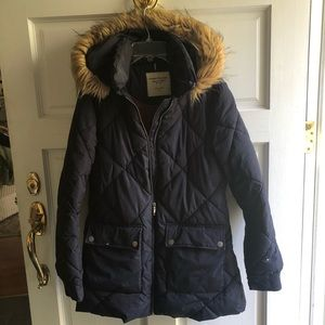 Tommy Hilfiger Faux Fur Trim Hooded Puffer Coat